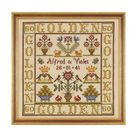 Golden Anniversary Sampler Cross Stitch By Historical Sampler Company