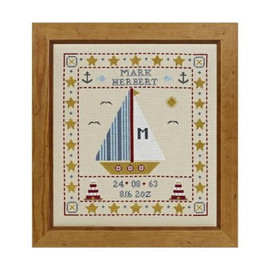 Sail Boat Birth Sampler Cross Stitch By Historical Sampler Company