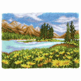 Latch Hook Kit: Rug: Mountain Landscape By Vervaco