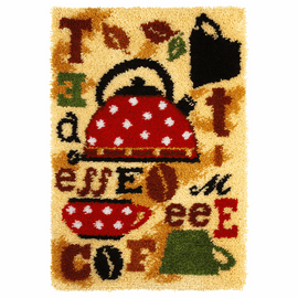 Latch Hook Kit: Rug: Tea & Coffee By Orchidea