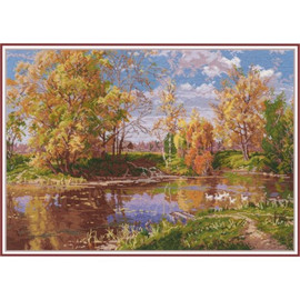 AUTUMN POND cross stitch kit by OVEN
