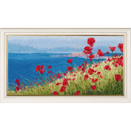 SUMMER, SEA, POPPIES cross stitch kit by OVEN