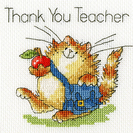 Greeting Card – An Apple For Teacher Cross Stitch Kit by Bothy threads