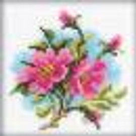 """Counted Dog Rose Cross Stitch Kit 4""""X4"""" by RTO"""