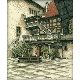 """Castle Courtyard Counted Cross Stitch Kit 9""""X11"""" by RTO"""