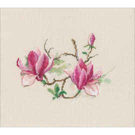 "Magnolia Flowers Counted Cross Stitch Kit 7.28""X5.31"" by RTO"