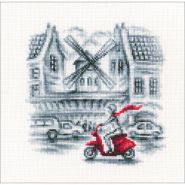 "On The Streets Of Paris Counted Cross Stitch Kit 5.9""X5.9"" by RTO"