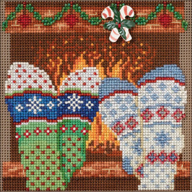 """Cozy Feet by  Buttons & Beads Counted Cross Stitch Kit 5""""X5"""" by Mill Hill"""