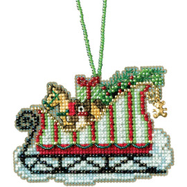 "Toyland Sleigh Counted Cross Stitch Kit 3.5""X2.25"" by Mill Hill"