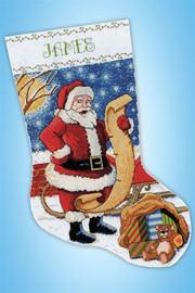 Santa's List Stocking cross stitch kit from Design Works