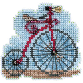 Vintage Bicycle counted cross stitch and glass beading Kit by Mill Hill