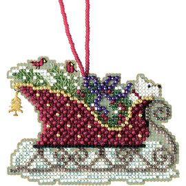 Evergreen Sleigh cross stitch and Glass Beading kit by MILL HILL