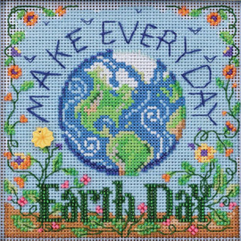 Earth Day cross stitch and Glass Beading Kit by MILL HILL