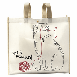 Reusable Tote: 10 x 38 x 35cm: Knit & Purl Cat: Cream/Red
