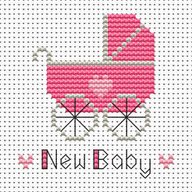 Simple stitches New baby girl cross stitch kit by FAT CAT