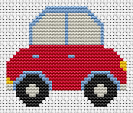 Sew simple car counted cross stitch kit by FAT CAT