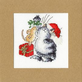 Christmas Card – Under The Mistletoe cross Stitch Kit by Bothy Threads