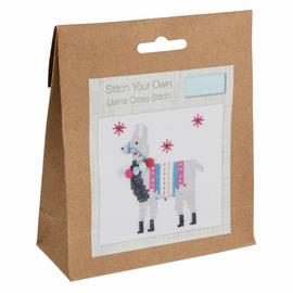 Mini Counted Cross Stitch Kit: Fleece Navidad Llama by Trimit