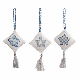 Counted Cross Stitch Kits: Christmas Decorations: Stars: Ice Blue By Anchor