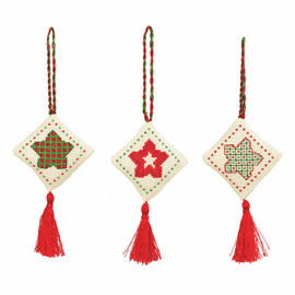 Counted Cross Stitch Kits: Christmas Decorations: Stars: Green/Red By Anchor
