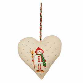 Counted Cross Stitch Kit: Heart Door Hanger: Snowman By Anchor