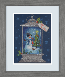 Counted Cross Stitch: Snowman Lantern By Dimensions