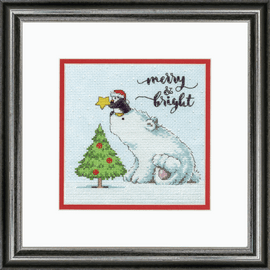 Counted Cross Stitch: Merry & Bright Bear By Dimensions