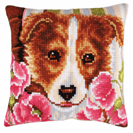 Dog and Pink Poppies Chunky Cross Stitch Kit by D'Art