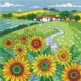 Sunflower Landscape Cross Stitch Kit By Heritage Crafts