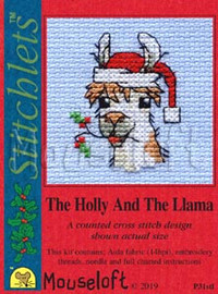 The Holly and the Llama Cross Stitch Kit by Mouseloft