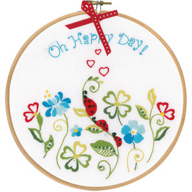 "Oh happy day Stamped Embroidery Kit 8"" Round by VERVACO"