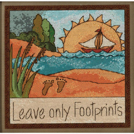 "Leave only footprints Mill Hill Counted Cross Stitch Kit 7""X7"""