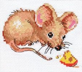 Mouse and Cheese Cross Stitch Kit By Alisa