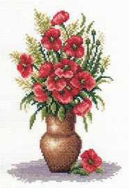 Poppy Bunch Counted Cross Stitch Kit By Panna