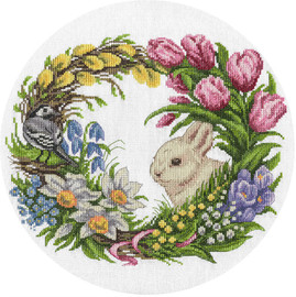 Spring Wreath Counted Cross Stitch Kit By Panna