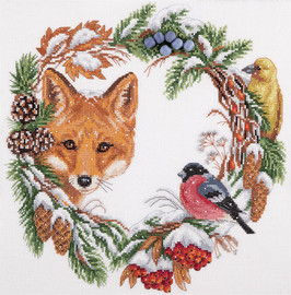 Winter Wildlife Wreath Counted Cross Stitch Kit By Panna
