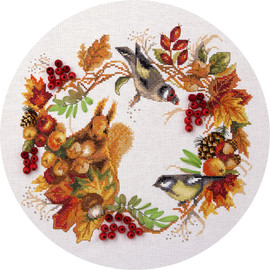 Autumn Wildlife Wreath Counted Cross Stitch Kit By Panna