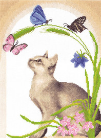 Cat and Butterflies Counted Cross Stitch Kit By Panna