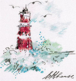 Watercolour Lighthouse Counted Cross Stitch Kit by Panna