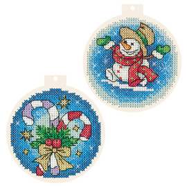 Candy Cane Baubles Counted Cross Stitch Kit by Panna