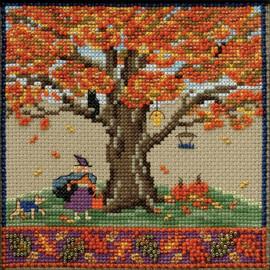 Fall Oak Cross stitch and Bead Kit by Mill Hill