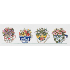 Row Of Teacups Cross Stitch Kit by Janlynn