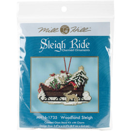 Woodland sleigh cross stitch and beading kit by Mill Hill