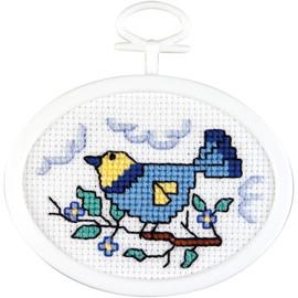 "Mini Bird Counted Cross Stitch Kit 2.75"" Oval by Janlynn"