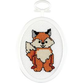 "Fox Mini Counted Cross Stitch Kit 2.75"" Oval by Janlynn"