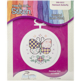 """Patchwork Butterfly Mini Counted Cross Stitch Kit 2.5"""" Round by Janlynn"""