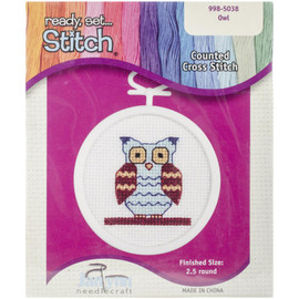 """Owl Mini Counted Cross Stitch Kit 2.5"""" Round by Janlynn"""