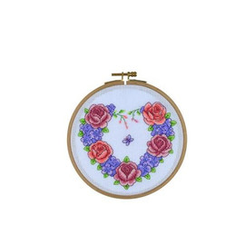Floral Heart Wreath Cross Stitch With Wooden Hoop By Creative World Of Crafts