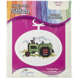 Tractor Mini Counted Cross Stitch Kit By Janlynn