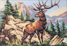 Alpine Stag Tapestry Canvas by Gobelin
